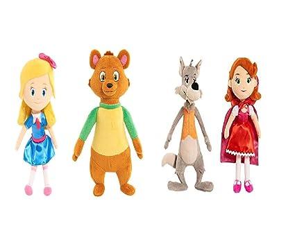 Set Of 4 Disney Junior Goldie And Bear Mini Plush