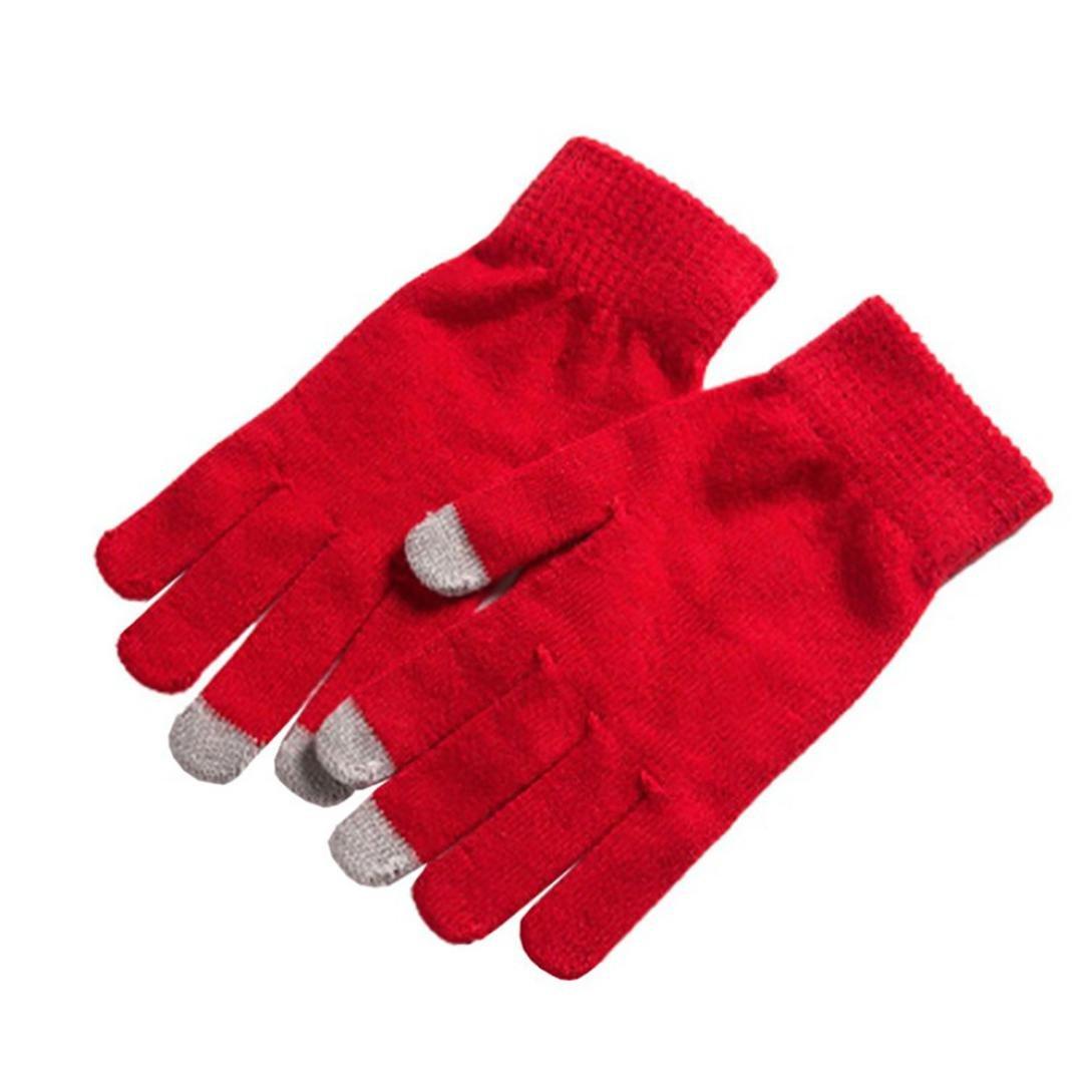 Men Women Winter Gloves For Smart Phone Tablet Full Finger Mittens (Red)
