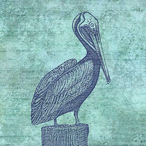 - Pelican Decorative Coastal Square Art Print by Dan Morris