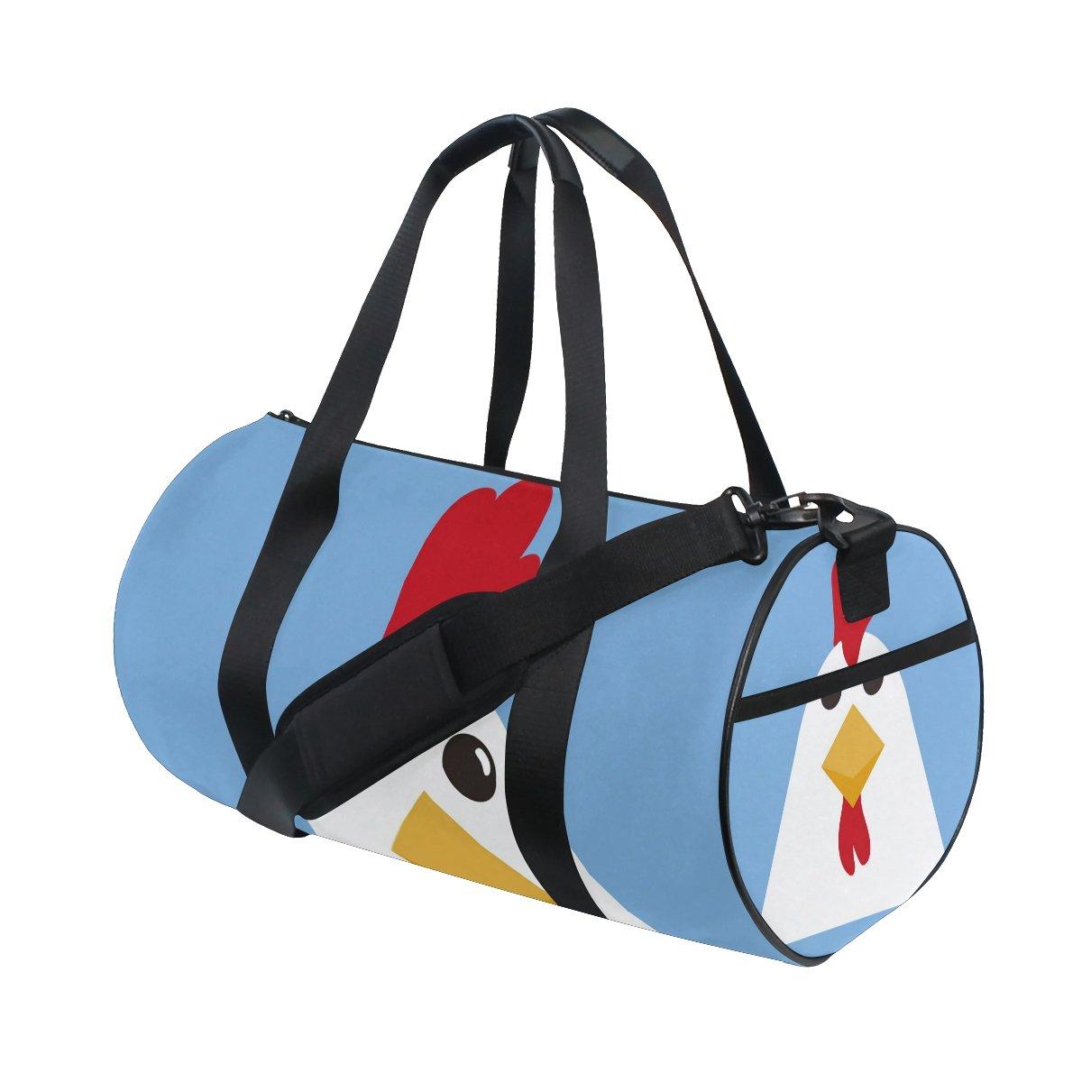JIUMEI Cute White Chicken Farm Animal Lightweight Canvas Sports Bag Travel Duffel Yoga Gym Bags Shoulder Bag for Women Men Girls Boys