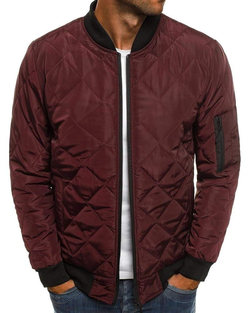 Pengfei Mens Jackets Bomber Varsity Diamond Quilted Spring Coats Outwear (Medium, Wine Red) by Pengfei