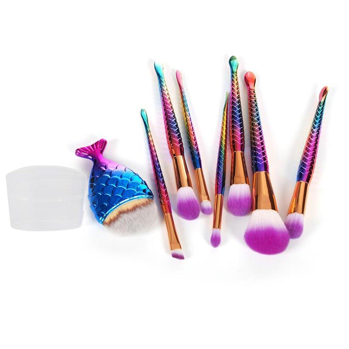 8 Pcs Mermaid Fish Tail Makeup Brush Set Powder Eyeshadow Contour Blending Cosmetic Tool Foundation Natural Beauty Palettes Vanity Dazzling Popular Face Colorful Rainbow Hair Highlights Kit, Type-02 61ktbzobIhL