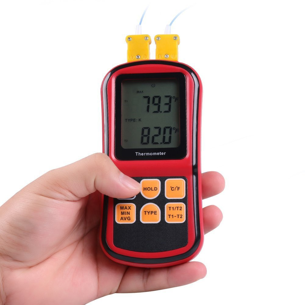RGBS doble canal term/ómetro digital con dos K- tipo termopares Temperatura Medidor con LCD Retroiluminaci/ón para K//J//T//E//R//S//N termopar Meteorolog/ía para la industria la agricultura