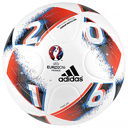 adidas Euro16 J350 Fracas Fußball, White/Bright Blue/Solar Red/Silver Metallic, 5