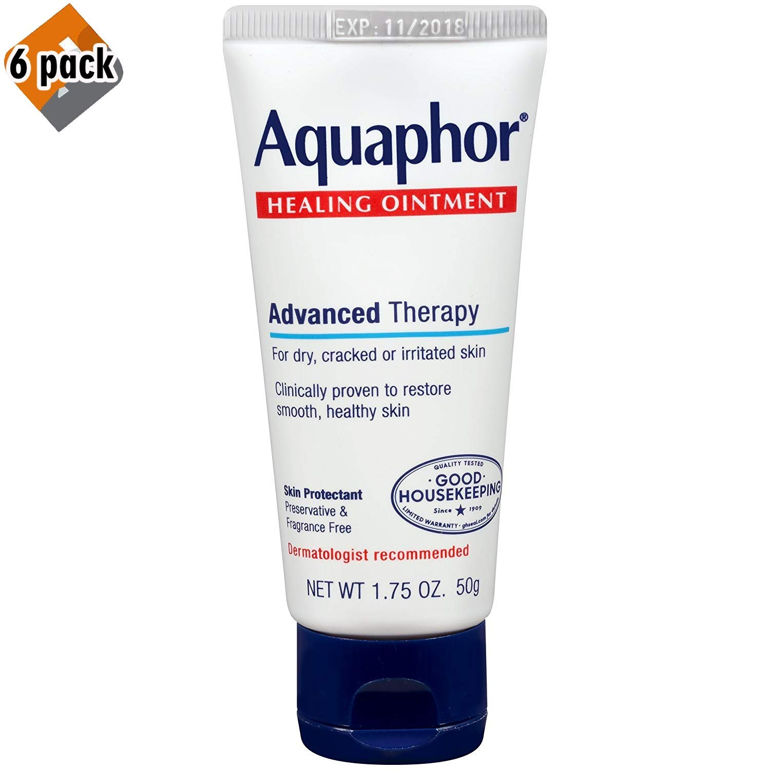 Aquaphor Advanced Therapy Healing Ointment Skin Protectant, 1.75 Ounce (Pack of 6)