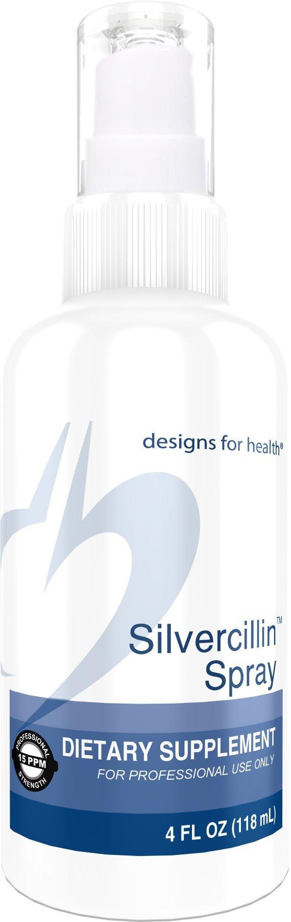 Designs for Health - Silvercillin Spray - 15ppm Silver for Immune Support, 4oz.