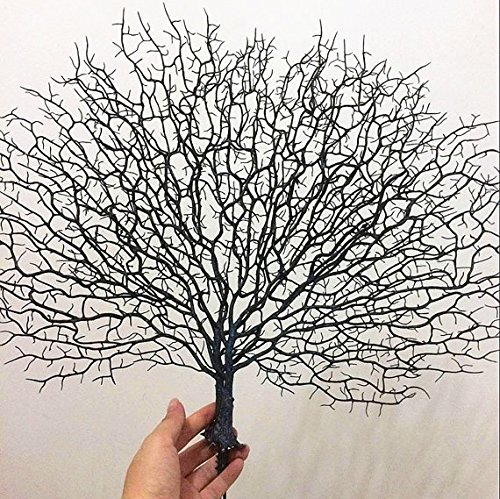 NewDreamWorld 20'' x 17'' Artificial Sea Fan - Dark Blue Plastic Seafan - Synthetic Sea Coral Fan Branch - Aquarium Decoration- Beach Home Decor by NewDreamWorld