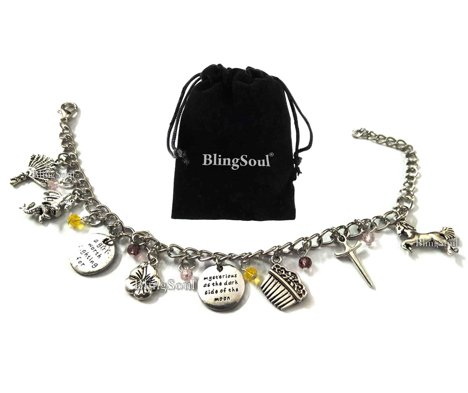 BlingSoul Movie and TV Premium Costume Jewelry Collection (Mulan Charm Bracelet)
