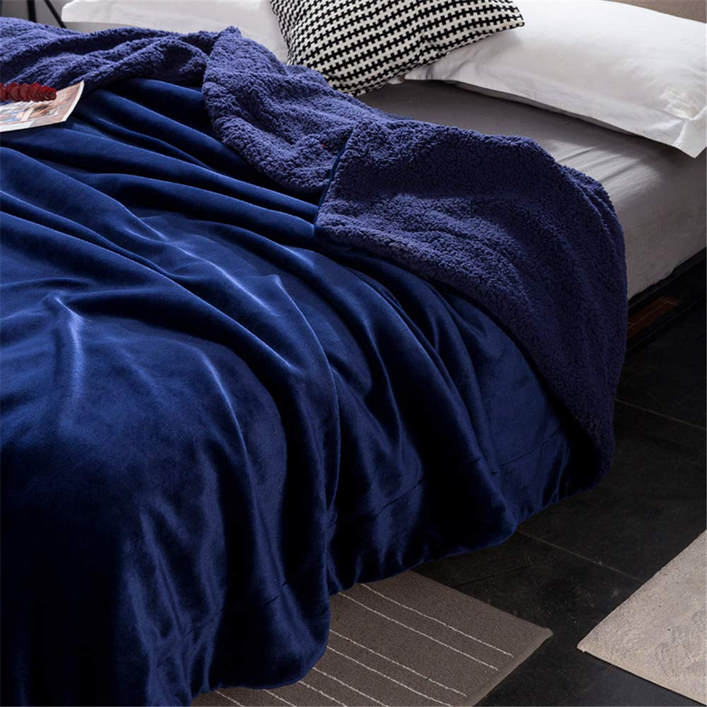 Ins net red Double Lamb Cashmere Blanket Sheets Double nap Blanket Thickening Student Dormitory Coral Fleece Blankets Velvety Delicate Skin Friendly Comfort Microfiber Sapphire Blue 150200cm by iangbaoyo