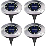 4Pcs 8LED Solar Powered Ground Lights Outdoor lamp Waterproof LED Solar Path Lights Garden Landscape Spike Lighting for Yard Driveway Lawn Pathway - White