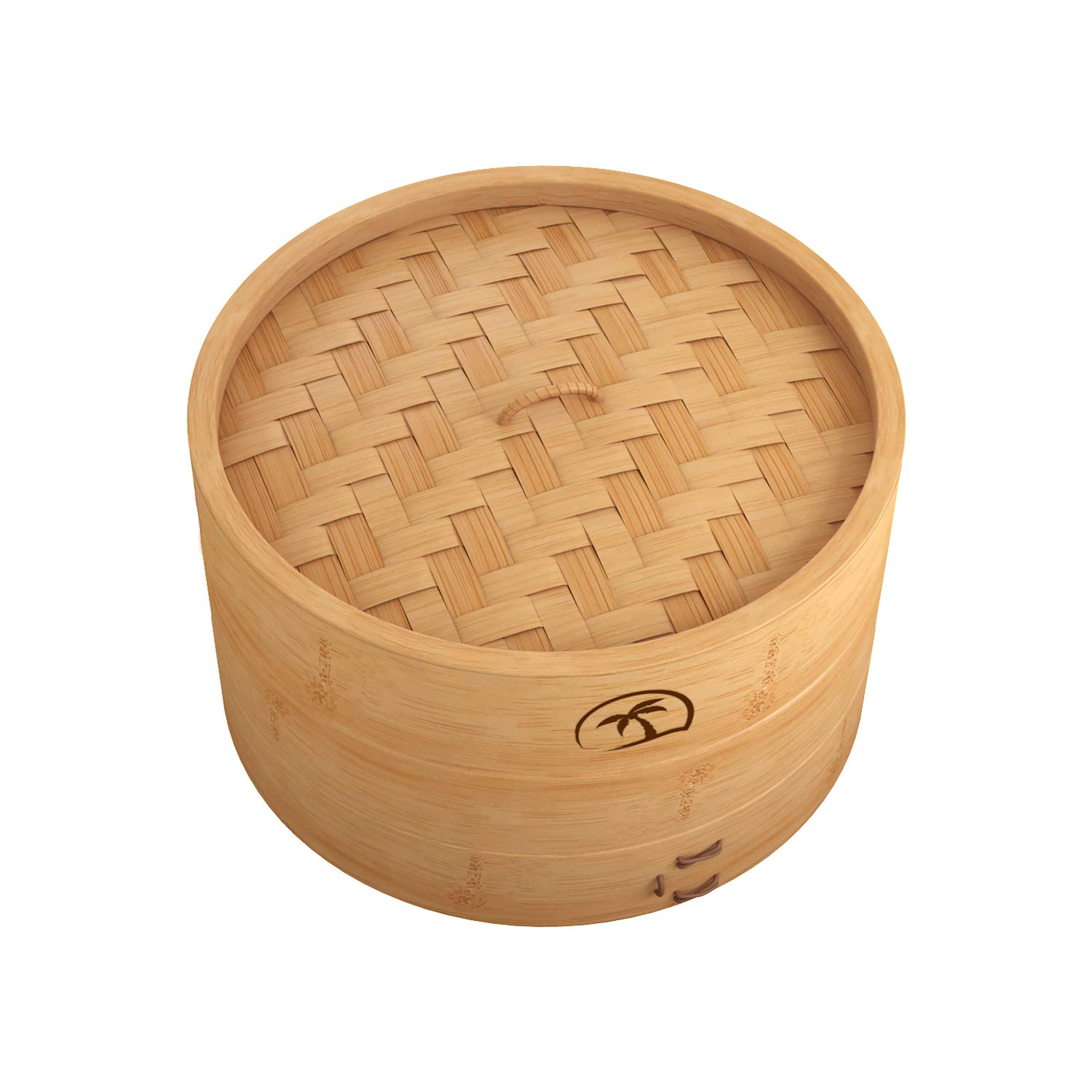 """10"""" Natural Bamboo Dumpling Steamer 2 Tiers Basket with Lid Includes 50 Wax Papers, 2 Pair of Chopsticks & Instruction Manual - Great for Asian Cooking by Tree Top"""
