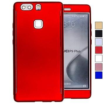COOVY® Funda para Huawei P9 + Plus 360 Grados, Carcasa Ultrafina y Ligera, con Protector de Pantalla, protección de Cuerpo Completo | Color Rojo