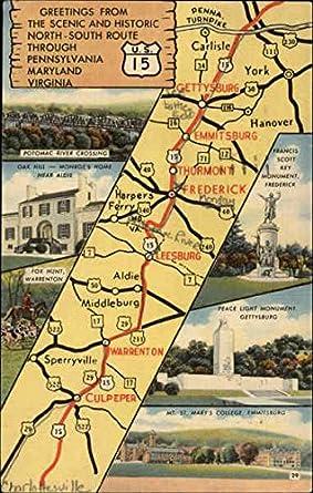 Pennsylvania Virginia Map.Amazon Com Road Map U S 15 Pennsylvania Maryland And Virginia