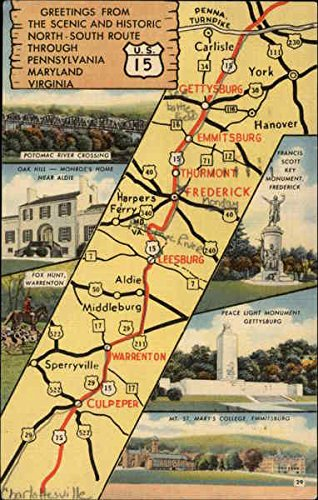 Road Map US15 Pennsylvania Maryland and Virginia Maps Original