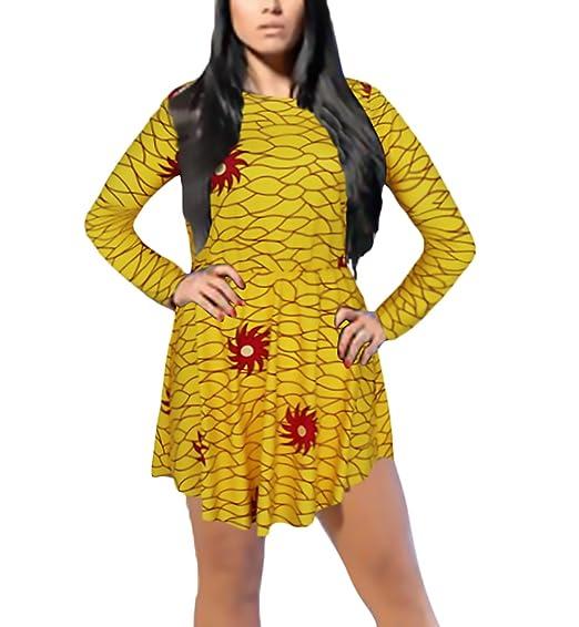 Mujer Vestidos De Fiesta Cortos Elegantes Vintage Hippie Leopardo Lindo Chic Moda Manga Larga Cuello Redondo