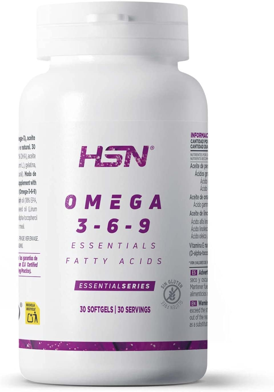Omega 3 6 9 de HSN | Aceite de Pescado, Onagra y Lino | Ácidos Grasos Esenciales: Linolénico + Linoleico + Oleico | Con Vitamina E, Sin Gluten, Sin ...
