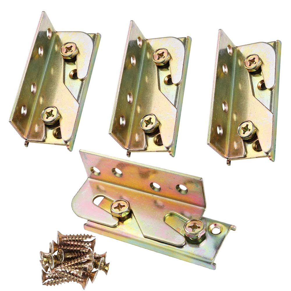 Bed Rail Bracket KINDPMA 4 Sets Heavy Duty No-Mortise Bed Rail Fittings Wooden Bed Frame Connectors with Screws for Headboards Footboards Hold 500 lbs Maximum