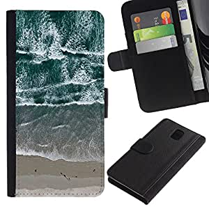 APlus Cases // Samsung Galaxy Note 3 III N9000 N9002 N9005 // Cenital Vista Playa olas arena mar // Cuero PU Delgado caso Billetera cubierta Shell Armor Funda Case Cover Wallet Credit Card
