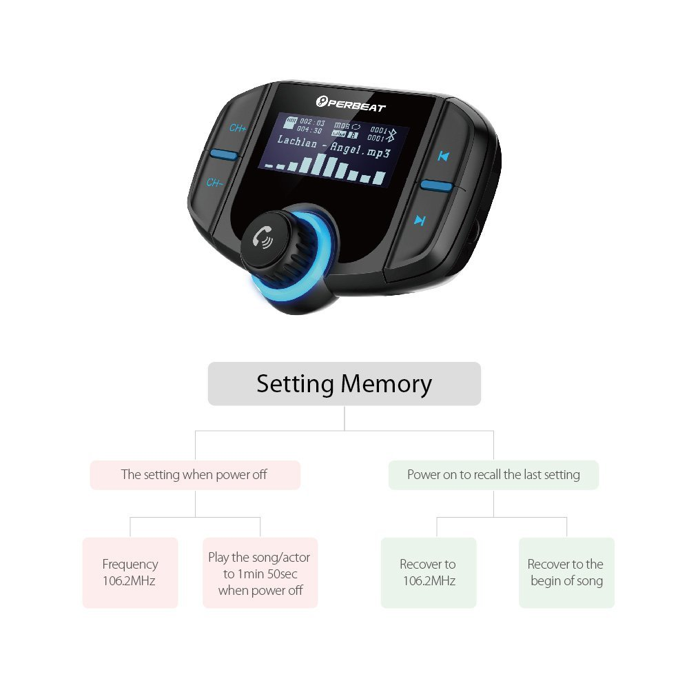 [New Version 2] Bluetooth FM Transmitter for Car, Perbeat Wireless Aux Adaptor Receiver Hands Free Car Kit 2.4A Fast Charger with 1.7Inch Larger Display, SD Reader, AUX In/Out for All 12-24V Cars. by Perbeat (Image #5)
