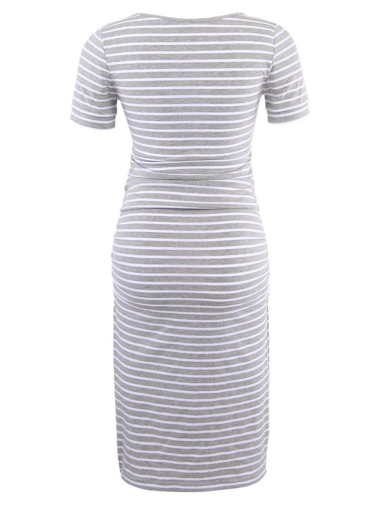 Women's Ruched Maternity Bodycon Dress Mama Causual Short Sleeve Wrap Dresses by Liu & Qu (Image #3)