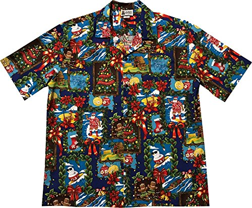 Large Blue Gingerbread Man Ornaments Candy Canes Hawaiian Christmas Shirt (Gingerbread Man Candy Cane)