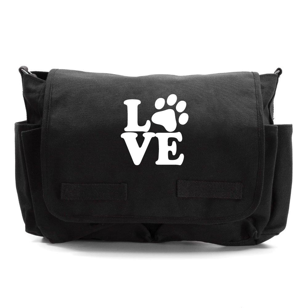 Love Dogs Army Heavyweight Canvas Messenger Shoulder Bag in Mocha /& Black