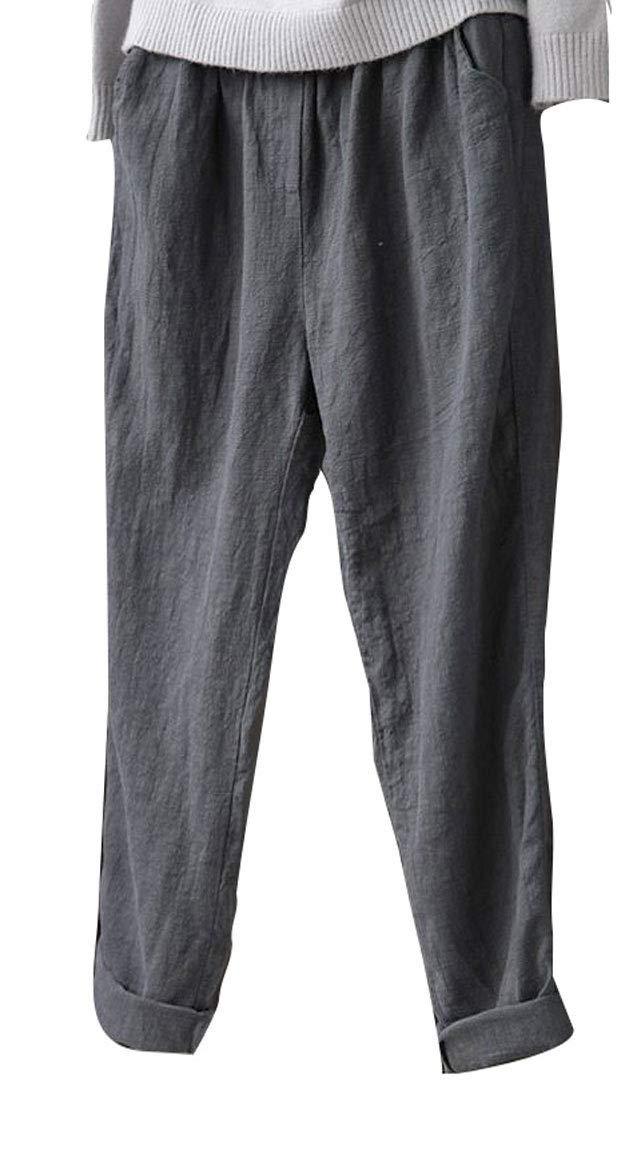 Soojun Womens Cotton Linen Loose Fit Elastic Waist Harm Pant, Grey, Small