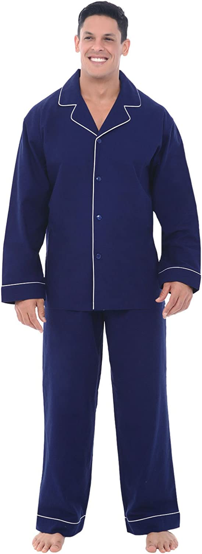 Alexander Del Rossa Men's Lightweight Flannel Pajamas, Long Cotton Pj Set