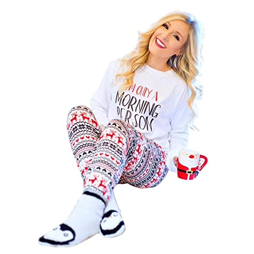 22592775ad6 Leoy88 Christmas Womens Xmas Elk Print Pajamas Slim Fitness Pants Trousers  at Amazon Women s Clothing store