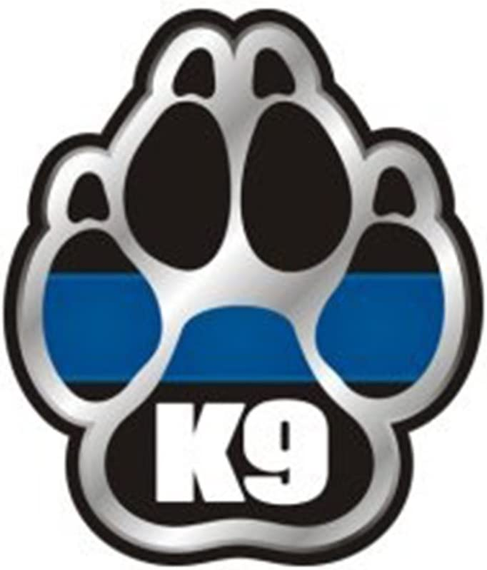 Various sizes Free Ship Thin Blue Line K9 Paw Print Reflective Window Decal