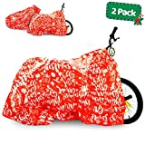 Bike Gift Bag - 2 Pack - Christmas Giant Gift Bags for Huge Gifts - 72'x60' Bicycle Oversized Jumbo Extra Large Xmas Present Gift Bags Plastic Wrapping Sack - Heavy Duty Pack with Tags & String Ties