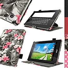 "iGadgitz ""Vintage Collection"" Executive Pink on Black Floral PU Leather Case Cover for Acer Iconia One 7 B1-730HD with Multi-Angle Viewing stand + Hand Strap + Stylus pen Elastic Holder + Screen Protector"