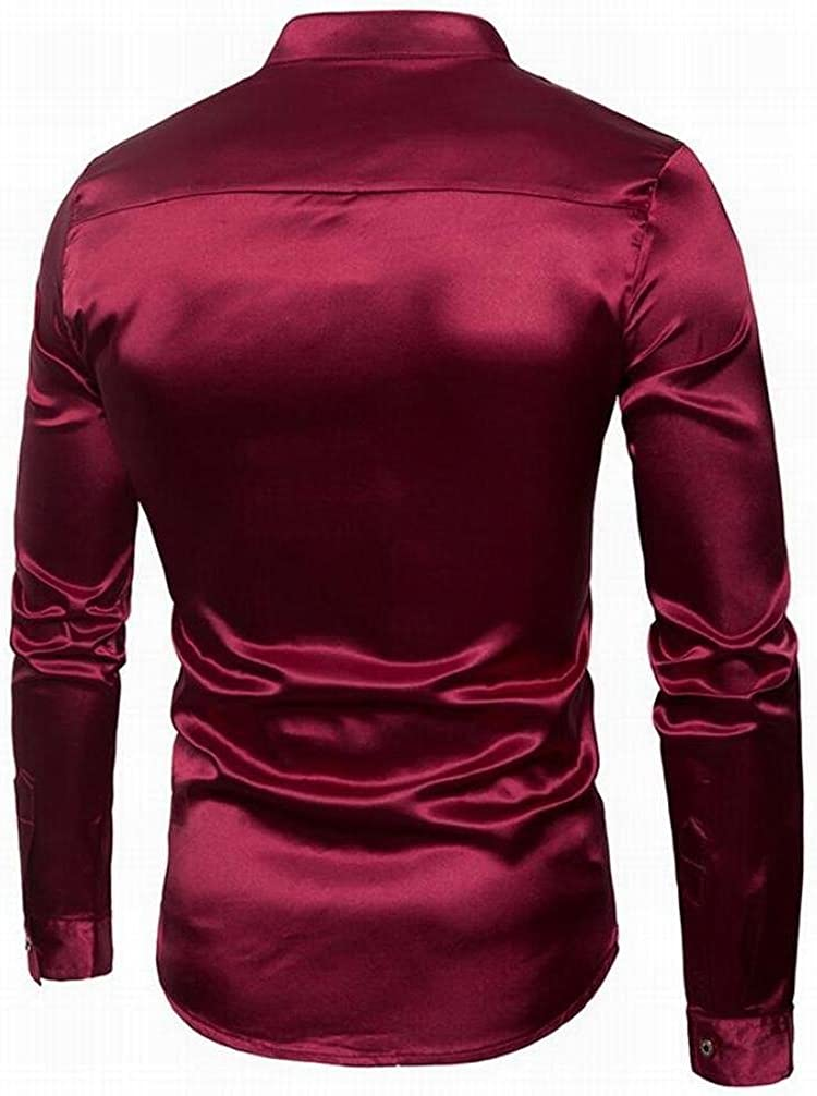Hurrg Mens Fashion Satin Silk Like Metallic Shiny Party Button Front Shirts