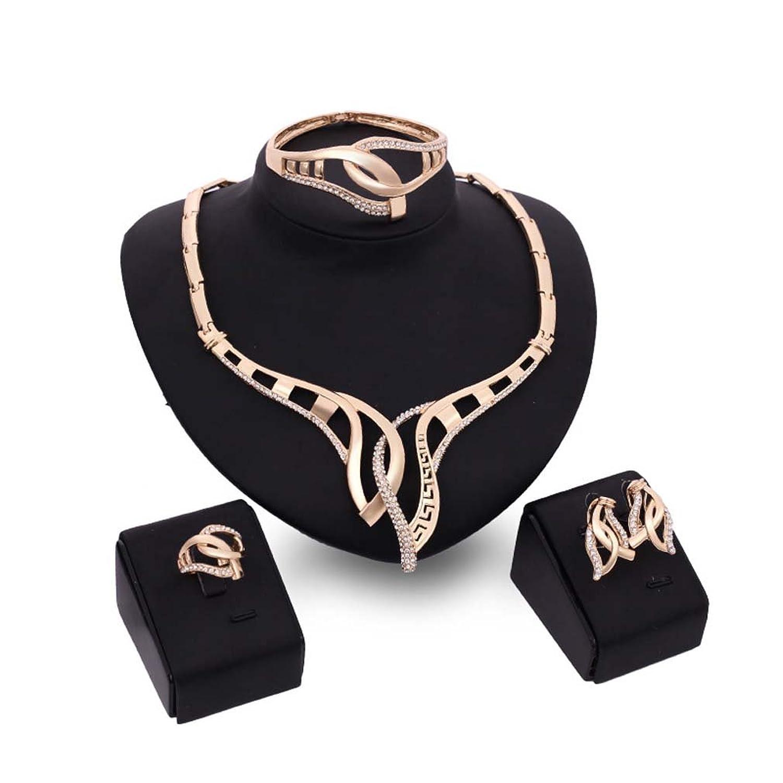 MJARTORIA Women's Vintage Ethnic Leaf Shape Filigree Statement Necklace Earring Bracelet Ring Jewelry Set