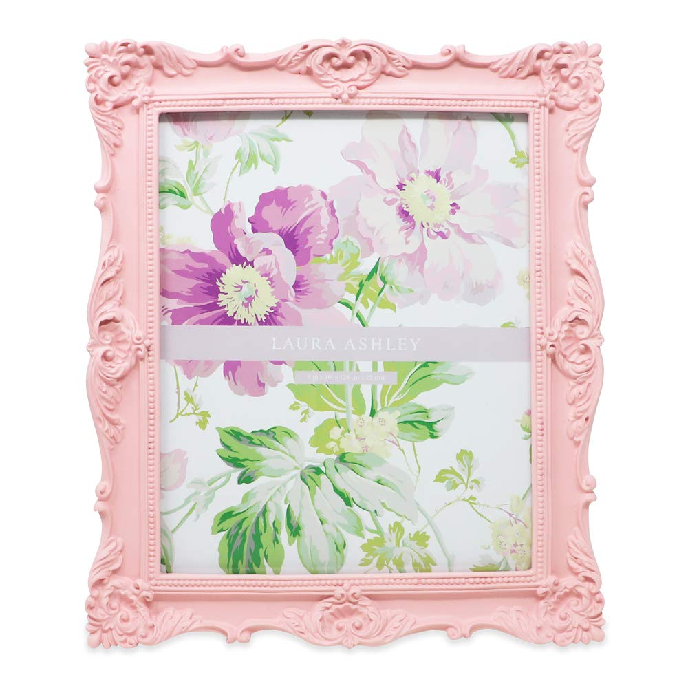 Laura Ashley 8x10 Pink Ornate Textured Hand-Crafted Resin Picture Frame with Easel & Hook for Tabletop & Wall Display, Decorative Floral Design Home Décor, Photo Gallery, Art, More (8x10, Pink) by Laura Ashley