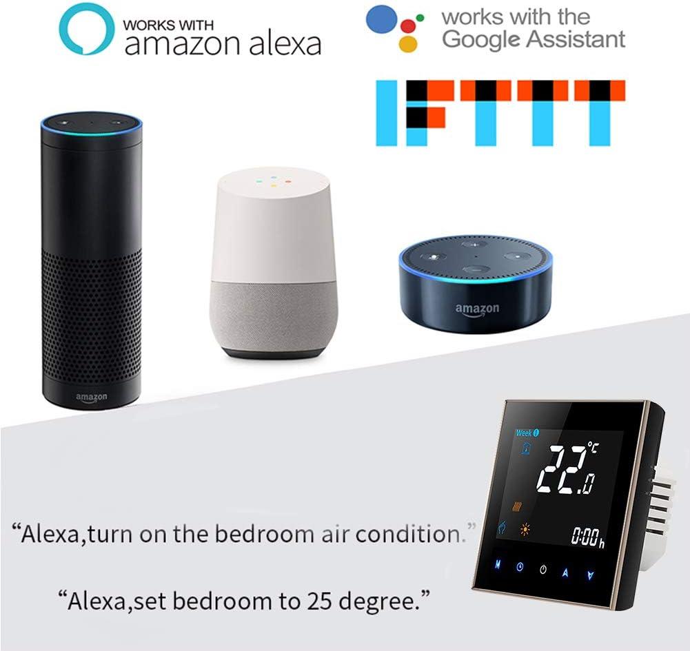 Luminosit/é r/églable Noir Panneau,Police couleur Thermostat Wifi intelligent Thermostat deau programmable Wifi Contr/ôleur de temp/érature daffichage LCD Compatible avec Alexa Google Home IFTTT 5A
