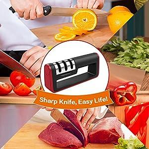 Knife Sharpener - Flight Handheld Kitchen Knife Sharpener Blade Sharpener Kitchen Accessories 3-Stage Knife Sharpening System Manual Sharpening Tool with Bonus 1 Cut-Resistant Glove Included
