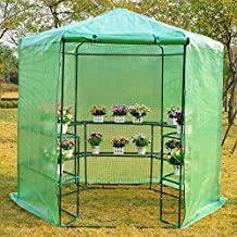 "Outsunny Ø76.4""x88.6"" Hexagonal Portable Walk-In Greenhouse Warm Plants Flower House with Shelves, Green"