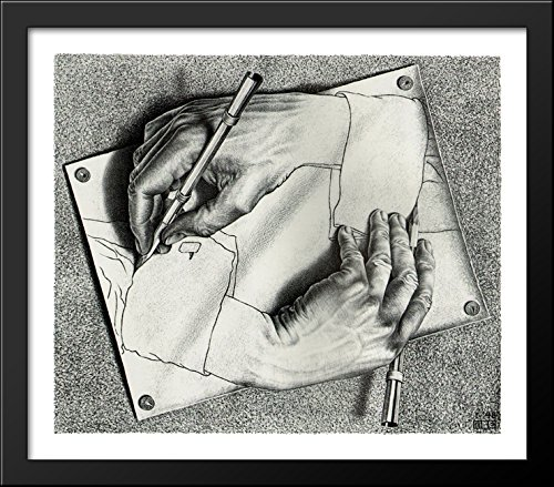 Drawing Hands 32x28 Large Black Wood Framed Print Art by M.C. (Escher Drawing)