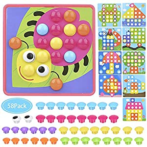 Button Art Toy, Mushrooms Nails Color Matching Mosaic Pegboard Early Learning Educational Preschool Toy Gift for Boy Girl Kids, etc (Pink)