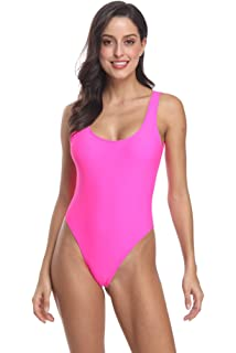 2633d2ff974 MIAIULIA Women's Retro 80s/90s Inspired High Cut Low Back Padding One Piece  Swimwear Bathing