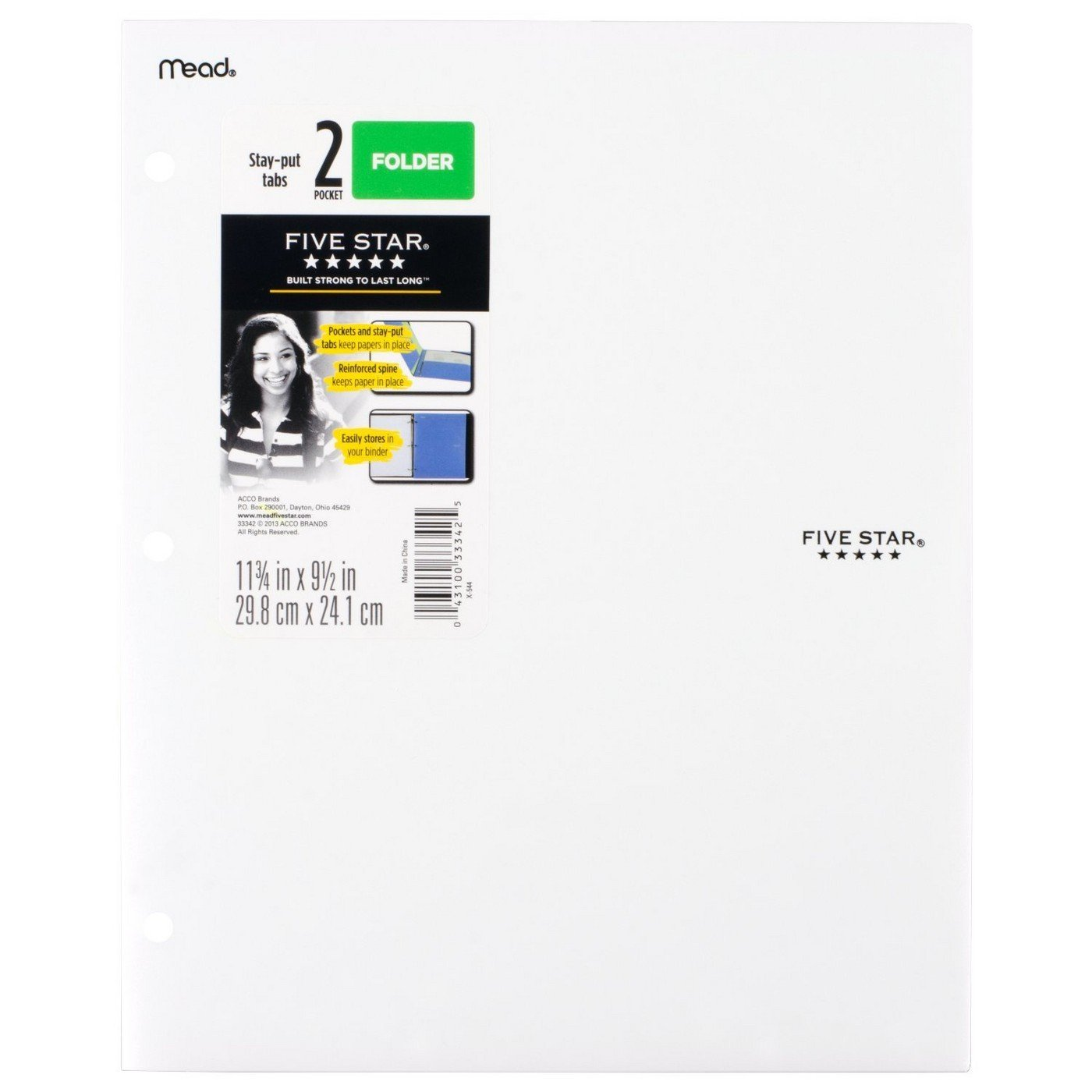 Five Star 2 - Pocket Folder, Stay-Put Tabs, Plastic. No Prongs (White)