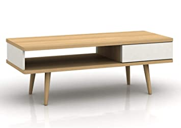 Elegant Loft24 Anne Couchtisch Mit Schublade Wohnzimmertisch Weiß Kaffeetisch  Sofatisch Beistelltisch Retro Skandinavisches Design Holz Eichefarben