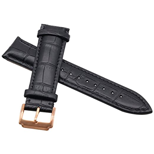 5193ff42b AUTULET Black Leather Watch Strap 20MM with Rose Gold Buckle Mens or  Womens: Amazon.ca: Watches
