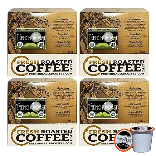 French Roast Artisan Blend Single-Serve Coffee Pods, 72 Capsules for Keurig K-Cup Brewers, Fresh Roasted Coffee LLC. (72 Count)