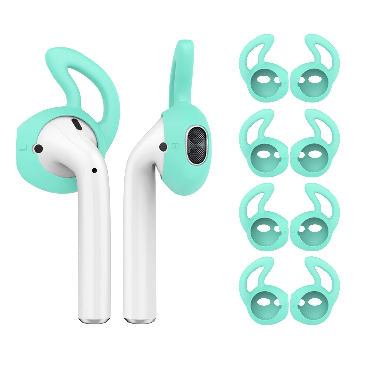 Mint Green OneCut 5 Pairs Airpods Silicone Ear Hooks Cover Earbuds Tips for Apple AirPods,Silicone Soft Anti-Slip Sport Anti-Drop Ear Hook Gel Headphones Earphones Protective Accessories Tips