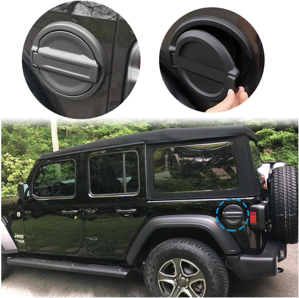 2 Pieces Compatible with 2018-2019 Jeep Wrangler JL 2-Door 4-Door Gas Cap Fuel Filler Door Gas Tank Cover