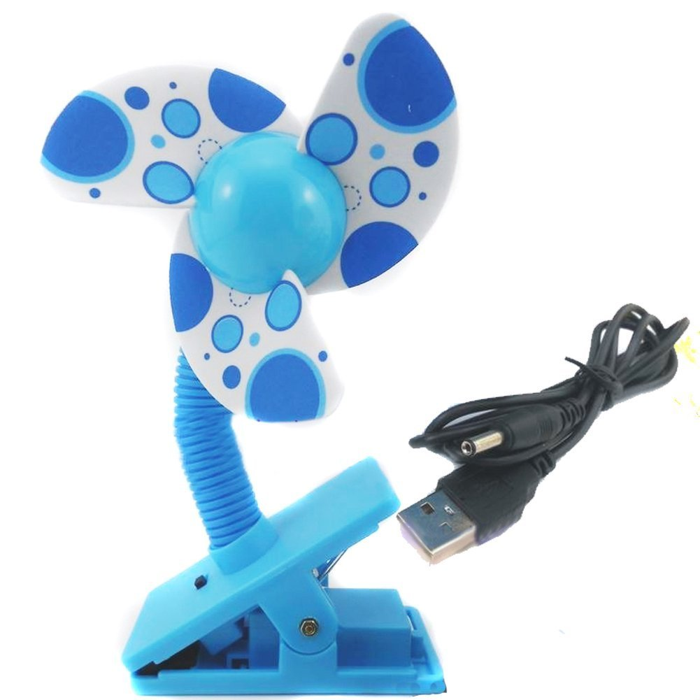 Mini Safety Baby Clip-On Stroller Fan Dual-Use Usb/Battery Cooling Fan (Blue) Grimbatol