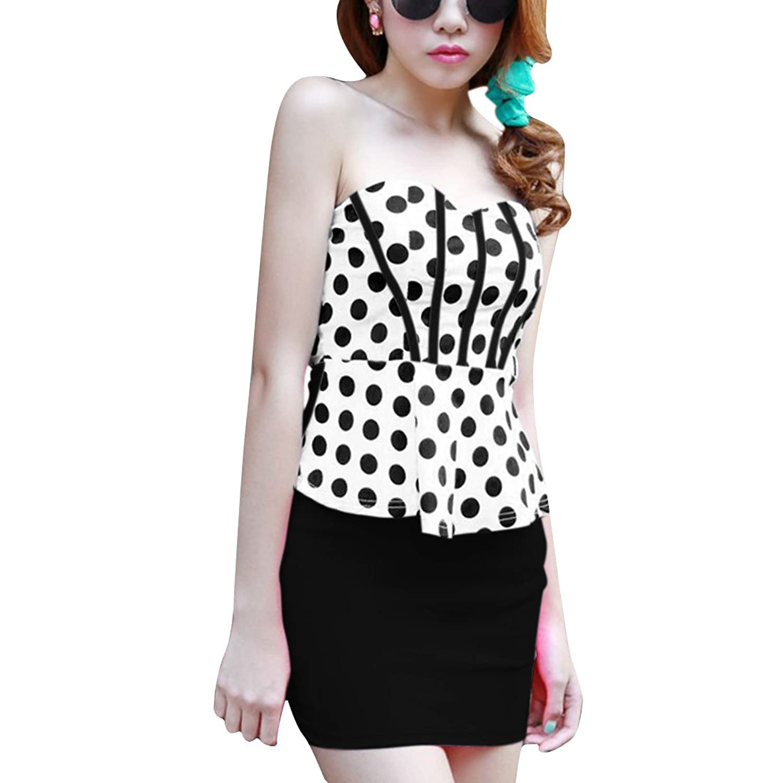 Women Off Shoulder Pullover Sleeveless Panel Dots Pattern Dress