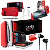 Switch Bundle, Orzly Accessories for Nintendo Switch (Glass Screen Protectors, USB Charging Cable, Switch Console Pouch, Switch Games Case, Comfort Grip Case, Headphones) Poke Style (Red/Black/White)